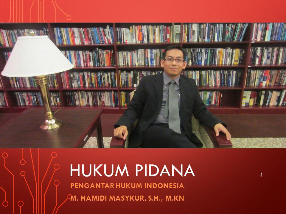 HUKUM PIDANA PENGANTAR HUKUM INDONESIA M. HAMIDI MASYKUR, S.H., M.KN 1