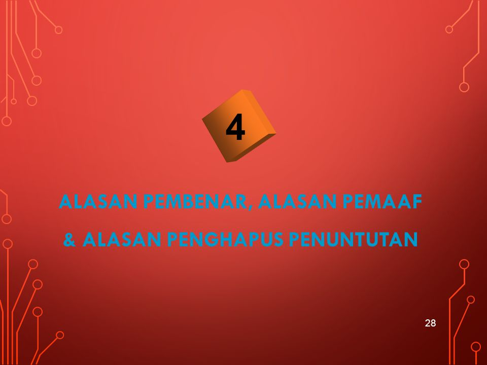 ALASAN PEMBENAR, ALASAN PEMAAF & ALASAN PENGHAPUS PENUNTUTAN 28 4