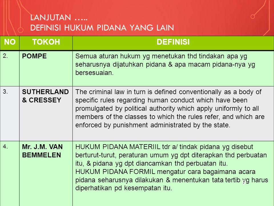 LANJUTAN ….. DEFINISI HUKUM PIDANA YANG LAIN NOTOKOHDEFINISI 2. POMPESemua aturan hukum yg menetukan thd tindakan apa yg seharusnya dijatuhkan pidana