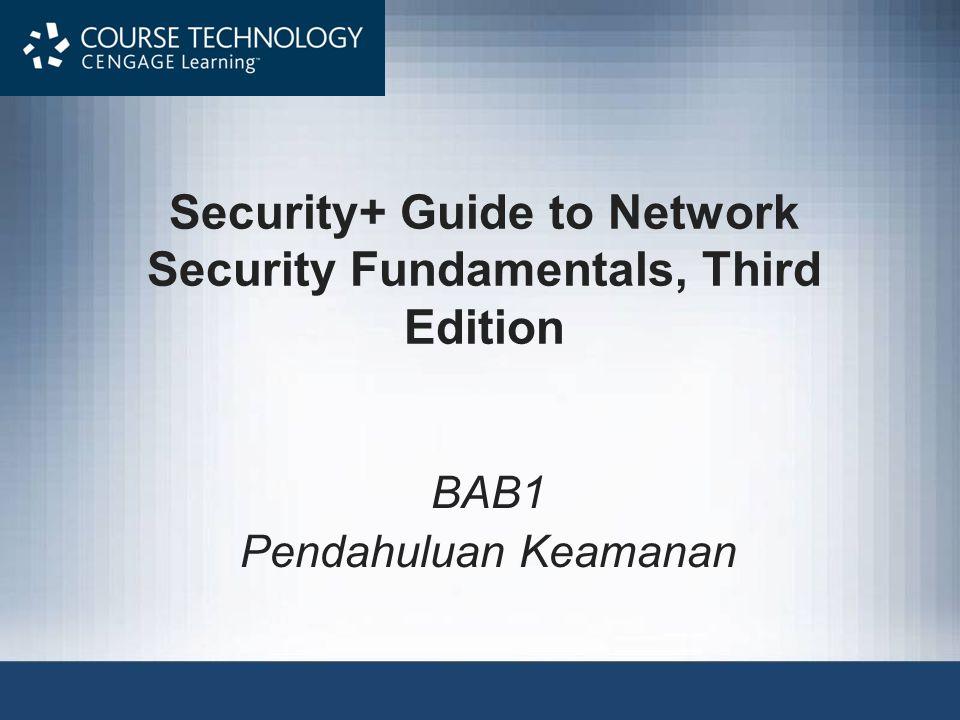 Security+ Guide to Network Security Fundamentals, Third Edition Terminologi Keamanan Informasi (continued) Vulnerability (kerentanan) –Kelemahan yang memungkinkan agen untuk memotong ancaman keamanan Risk (Risiko) –Kemungkinan bahwa agen ancaman akan mengeksploitasi kerentanan –Realistis, risiko tidak pernah bisa sepenuhnya dihilangkan 12