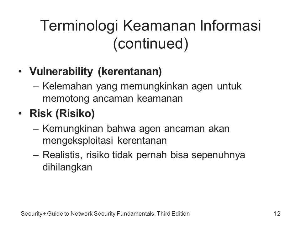 Security+ Guide to Network Security Fundamentals, Third Edition Terminologi Keamanan Informasi (continued) Vulnerability (kerentanan) –Kelemahan yang