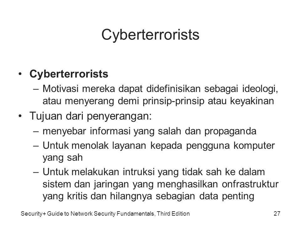 Security+ Guide to Network Security Fundamentals, Third Edition Cyberterrorists –Motivasi mereka dapat didefinisikan sebagai ideologi, atau menyerang