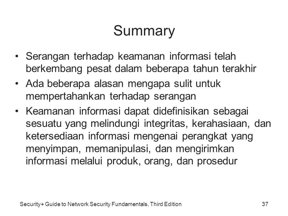 Security+ Guide to Network Security Fundamentals, Third Edition Summary Serangan terhadap keamanan informasi telah berkembang pesat dalam beberapa tah