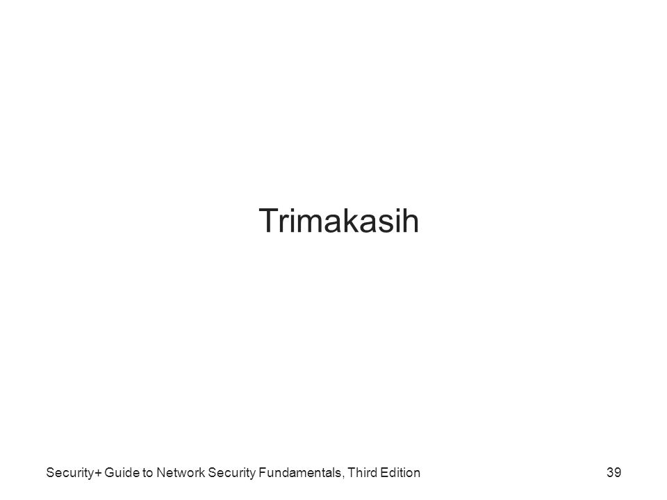 Trimakasih Security+ Guide to Network Security Fundamentals, Third Edition39