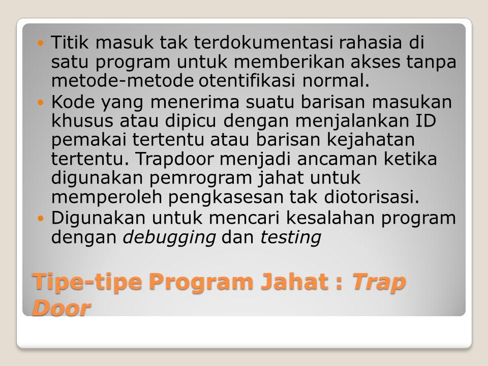 Tipe-tipe Program Jahat : Trap Door Titik masuk tak terdokumentasi rahasia di satu program untuk memberikan akses tanpa metode-metode otentifikasi nor