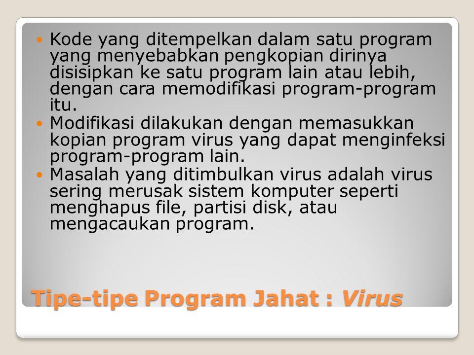 Tipe-tipe Program Jahat : Virus Kode yang ditempelkan dalam satu program yang menyebabkan pengkopian dirinya disisipkan ke satu program lain atau lebi
