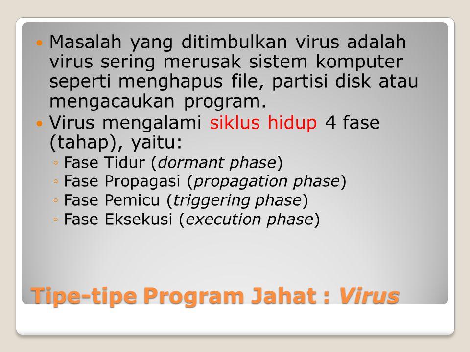 Tipe-tipe Program Jahat : Virus Masalah yang ditimbulkan virus adalah virus sering merusak sistem komputer seperti menghapus file, partisi disk atau m