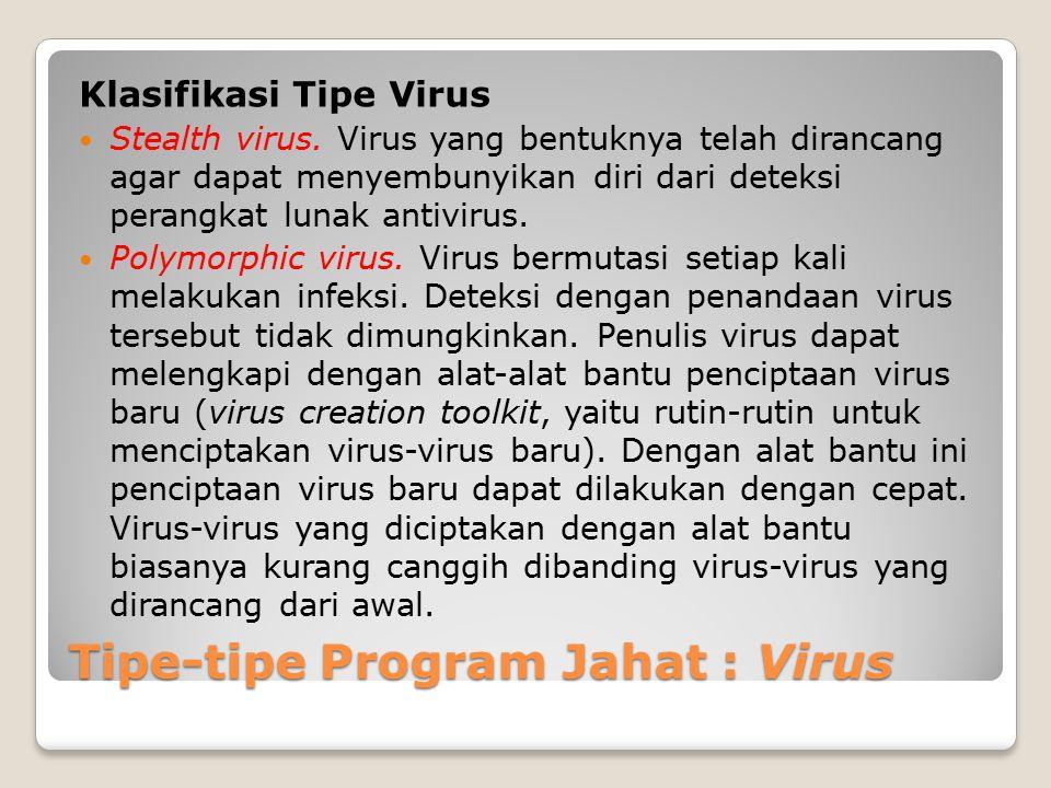Tipe-tipe Program Jahat : Virus Klasifikasi Tipe Virus Stealth virus. Virus yang bentuknya telah dirancang agar dapat menyembunyikan diri dari deteksi