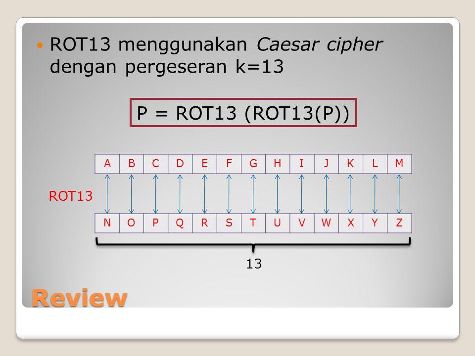 Review ROT13 menggunakan Caesar cipher dengan pergeseran k=13 ABCDEFGHIJKLM NOPQRSTUVWXYZ ROT13 13 P = ROT13 (ROT13(P))