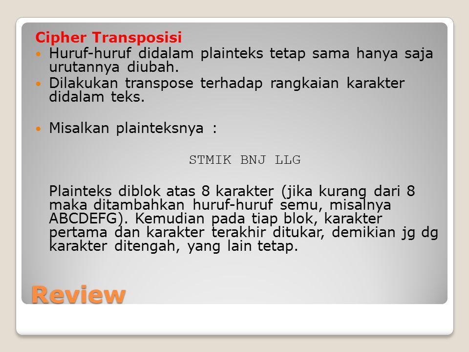 Review Cipher Transposisi Huruf-huruf didalam plainteks tetap sama hanya saja urutannya diubah. Dilakukan transpose terhadap rangkaian karakter didala