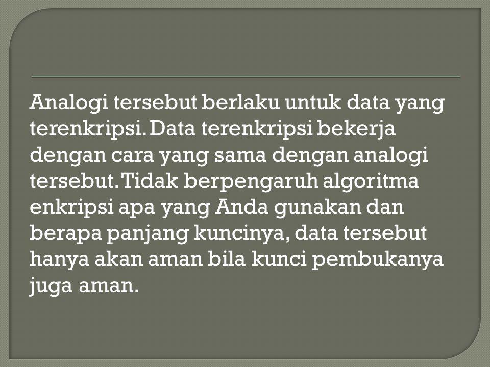 Analogi tersebut berlaku untuk data yang terenkripsi.