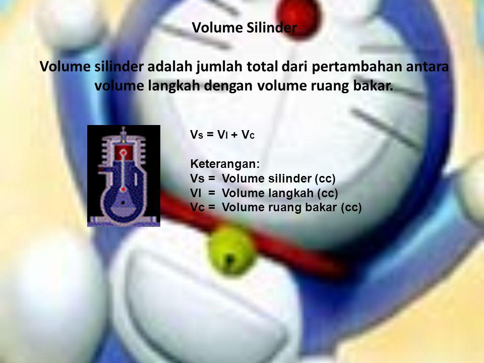Volume Silinder Volume silinder adalah jumlah total dari pertambahan antara volume langkah dengan volume ruang bakar. V s = V l + V c Keterangan: Vs =