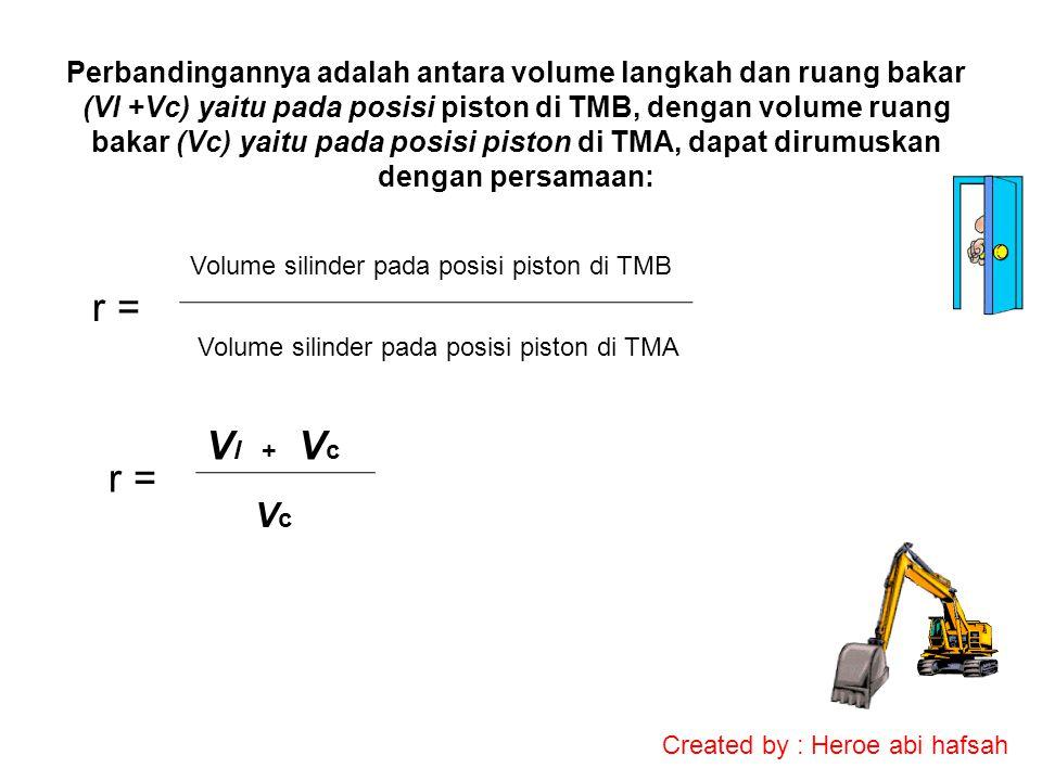 Perbandingannya adalah antara volume langkah dan ruang bakar (Vl +Vc) yaitu pada posisi piston di TMB, dengan volume ruang bakar (Vc) yaitu pada posisi piston di TMA, dapat dirumuskan dengan persamaan: r = Volume silinder pada posisi piston di TMB Volume silinder pada posisi piston di TMA r = V l + V c VcVc Created by : Heroe abi hafsah