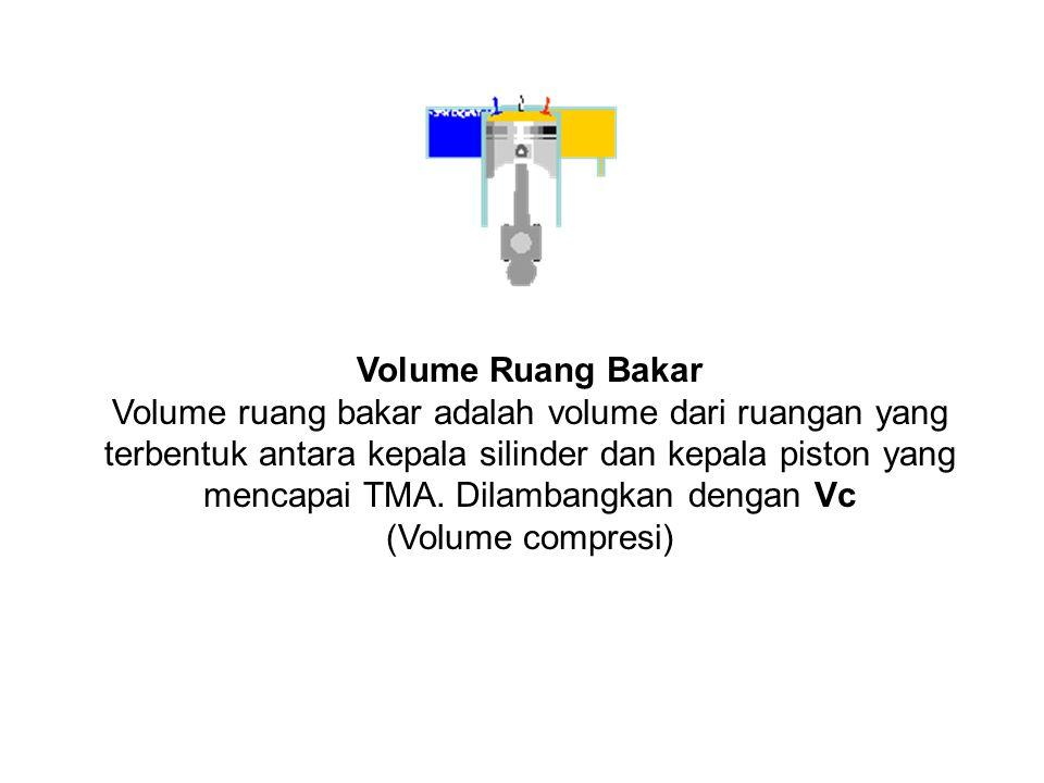 Volume Ruang Bakar Volume ruang bakar adalah volume dari ruangan yang terbentuk antara kepala silinder dan kepala piston yang mencapai TMA.