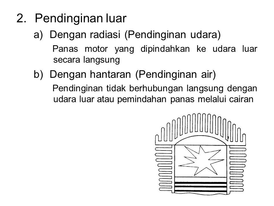 2.Pendinginan luar a)Dengan radiasi (Pendinginan udara) Panas motor yang dipindahkan ke udara luar secara langsung b)Dengan hantaran (Pendinginan air) Pendinginan tidak berhubungan langsung dengan udara luar atau pemindahan panas melalui cairan