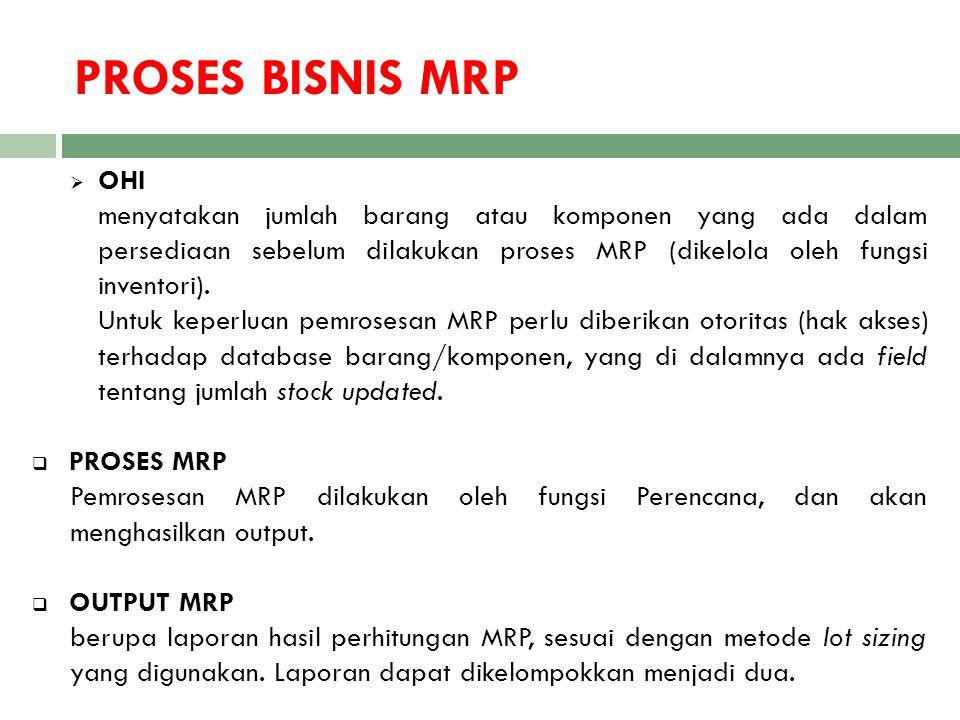PROSES BISNIS MRP  OHI menyatakan jumlah barang atau komponen yang ada dalam persediaan sebelum dilakukan proses MRP (dikelola oleh fungsi inventori)