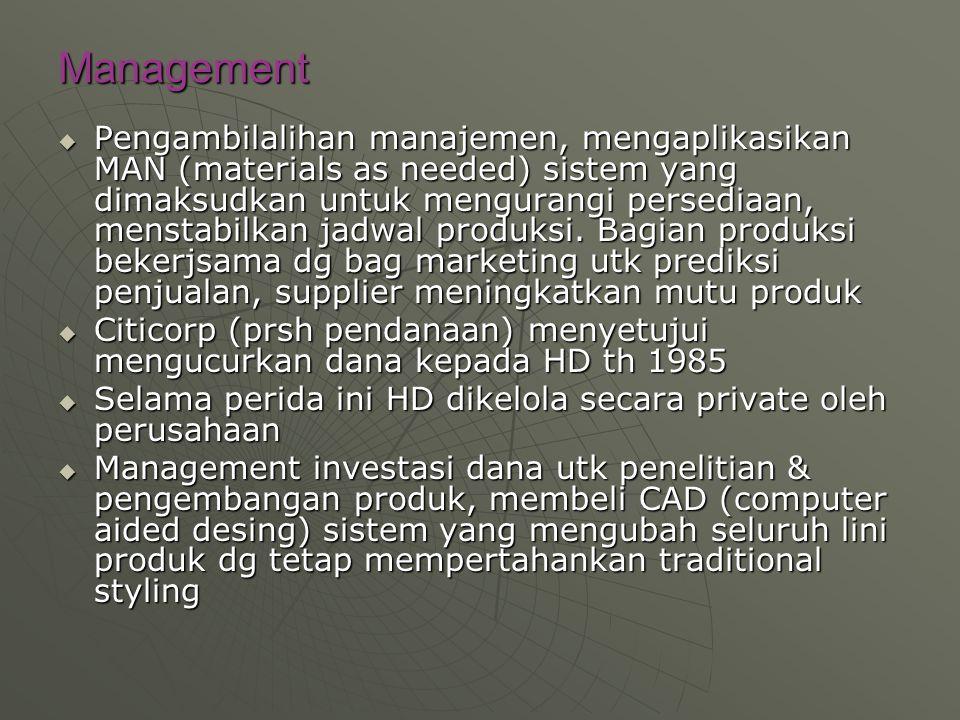 Management  Pengambilalihan manajemen, mengaplikasikan MAN (materials as needed) sistem yang dimaksudkan untuk mengurangi persediaan, menstabilkan ja