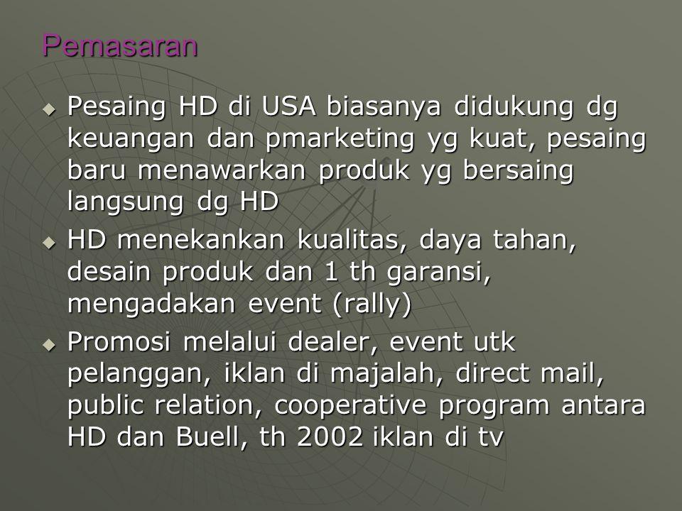 Pemasaran  Pesaing HD di USA biasanya didukung dg keuangan dan pmarketing yg kuat, pesaing baru menawarkan produk yg bersaing langsung dg HD  HD men
