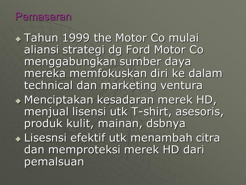 Pemasaran  Tahun 1999 the Motor Co mulai aliansi strategi dg Ford Motor Co menggabungkan sumber daya mereka memfokuskan diri ke dalam technical dan m