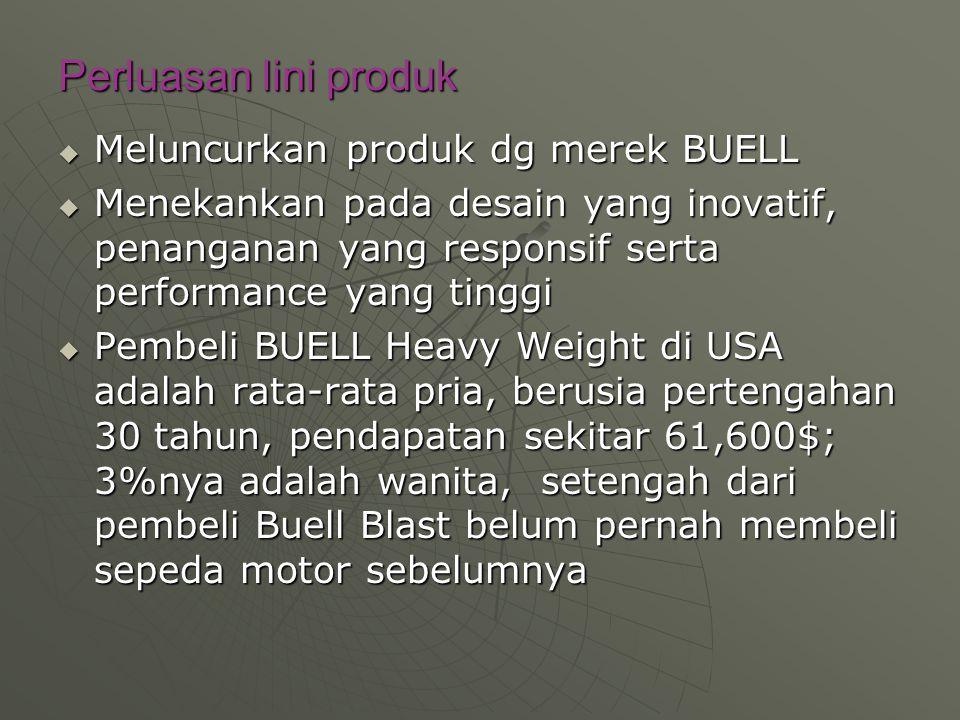 Perluasan lini produk  Meluncurkan produk dg merek BUELL  Menekankan pada desain yang inovatif, penanganan yang responsif serta performance yang tin