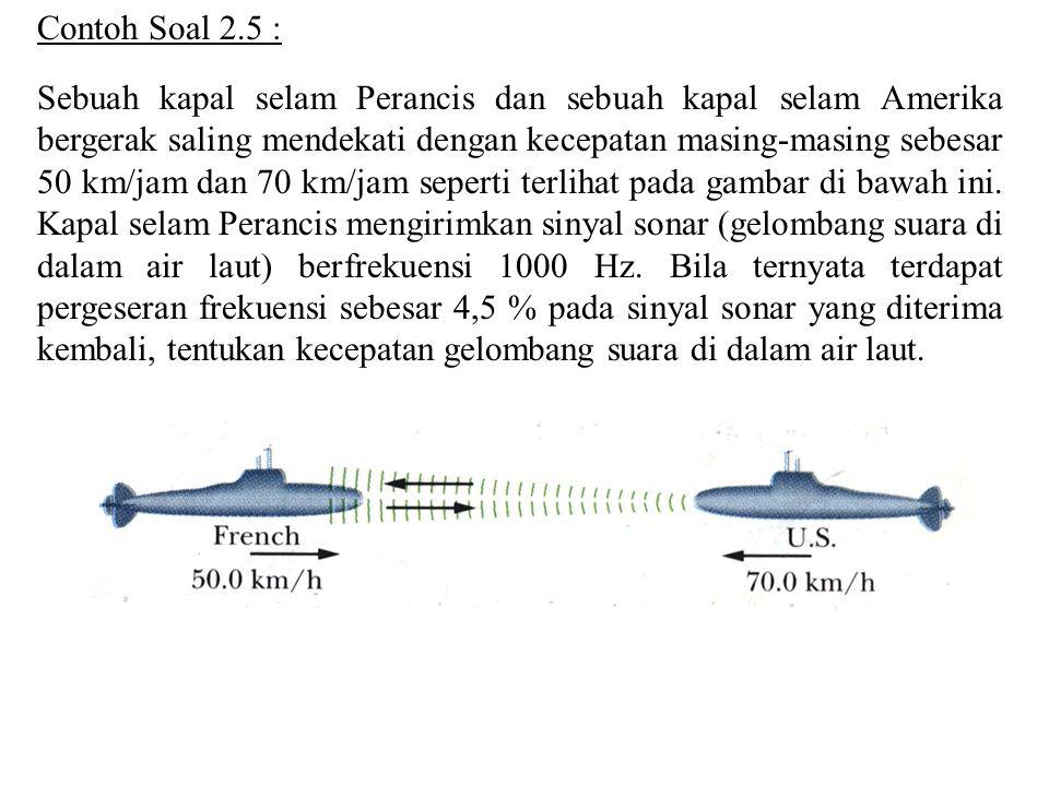 Sebuah kapal selam Perancis dan sebuah kapal selam Amerika bergerak saling mendekati dengan kecepatan masing-masing sebesar 50 km/jam dan 70 km/jam seperti terlihat pada gambar di bawah ini.