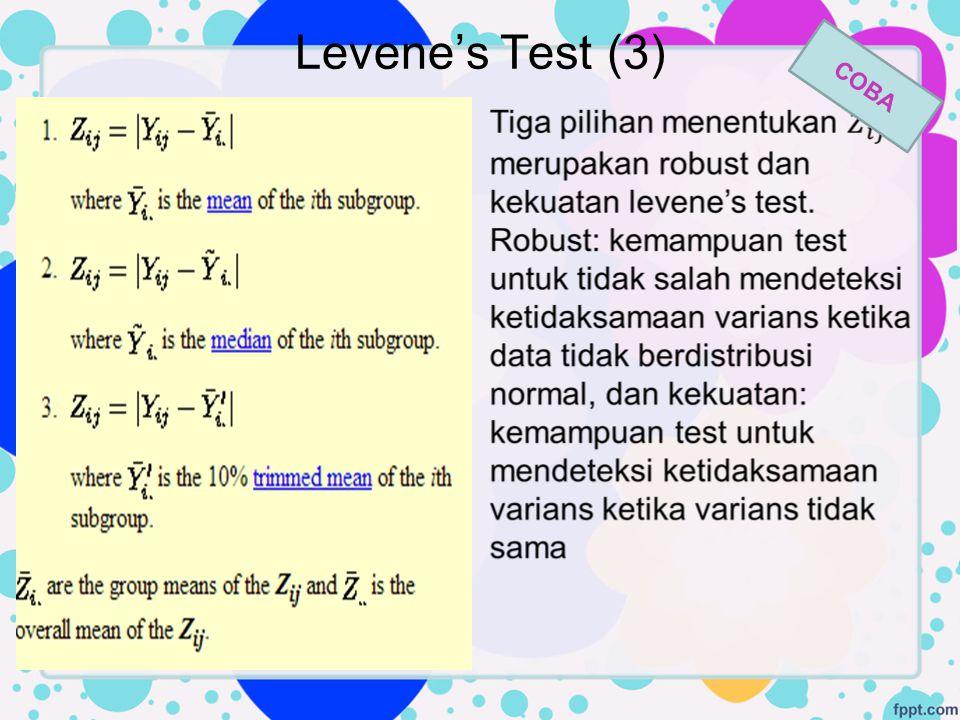 Levene's Test (3) COBA