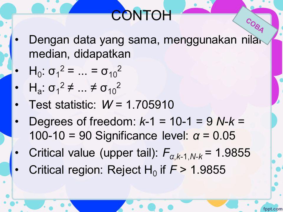 CONTOH Dengan data yang sama, menggunakan nilai median, didapatkan H 0 : σ 1 2 =... = σ 10 2 H a : σ 1 2 ≠... ≠ σ 10 2 Test statistic: W = 1.705910 De