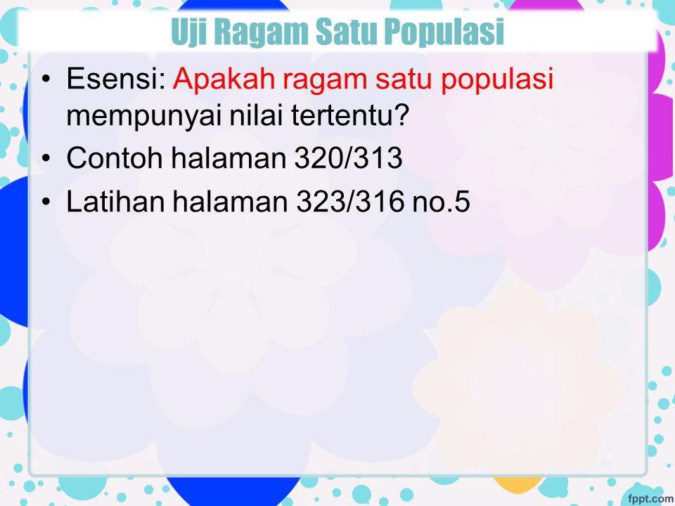 Esensi: Apakah ragam satu populasi mempunyai nilai tertentu? Contoh halaman 320/313 Latihan halaman 323/316 no.5 Uji Ragam Satu Populasi