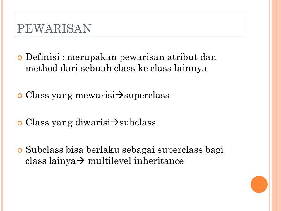 PEWARISAN Definisi : merupakan pewarisan atribut dan method dari sebuah class ke class lainnya Class yang mewarisi  superclass Class yang diwarisi 