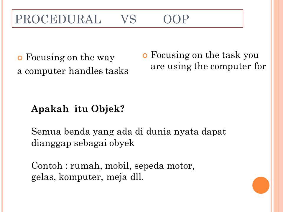 K ARAKTERISTIK OBJEK Setiap obyek memiliki atribut sebagai status (state).