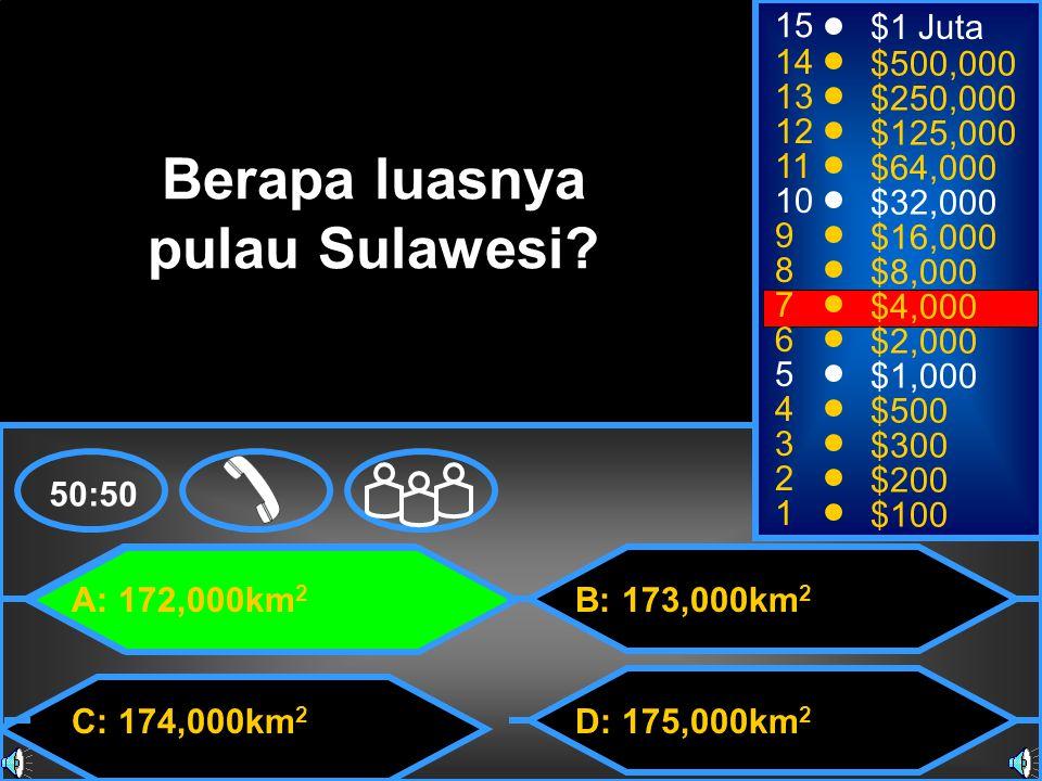 A: 172,000km 2 C: 174,000km 2 B: 173,000km 2 D: 175,000km 2 50:50 15 14 13 12 11 10 9 8 7 6 5 4 3 2 1 $1 Juta $500,000 $250,000 $125,000 $64,000 $32,000 $16,000 $8,000 $4,000 $2,000 $1,000 $500 $300 $200 $100 Berapa luasnya pulau Sulawesi