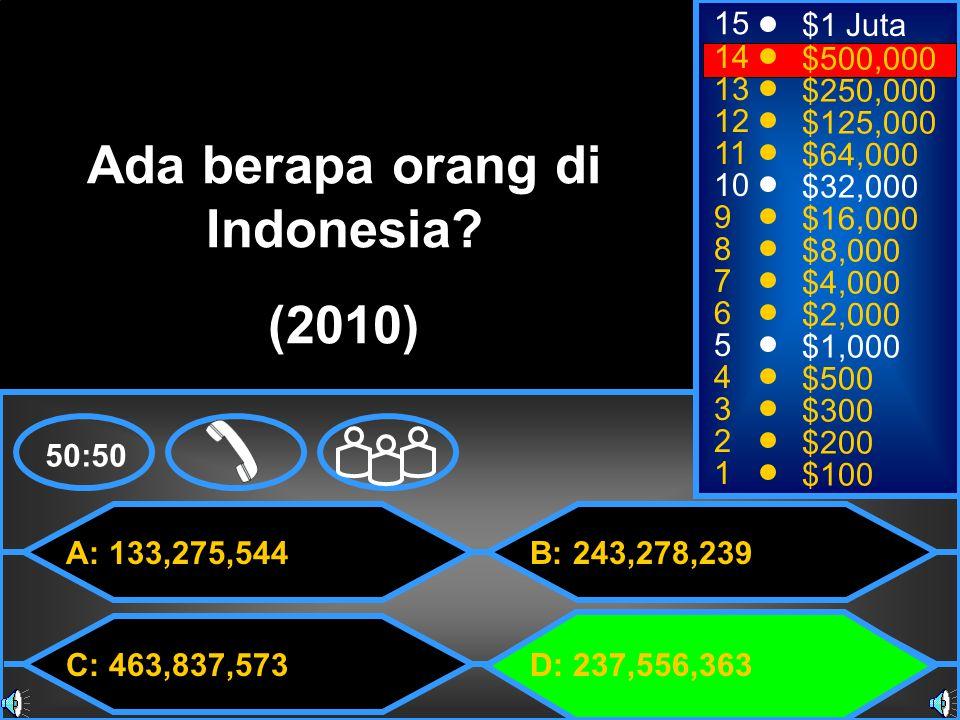 A: 133,275,544 C: 463,837,573 B: 243,278,239 D: 237,556,363 50:50 15 14 13 12 11 10 9 8 7 6 5 4 3 2 1 $1 Juta $500,000 $250,000 $125,000 $64,000 $32,000 $16,000 $8,000 $4,000 $2,000 $1,000 $500 $300 $200 $100 Ada berapa orang di Indonesia.