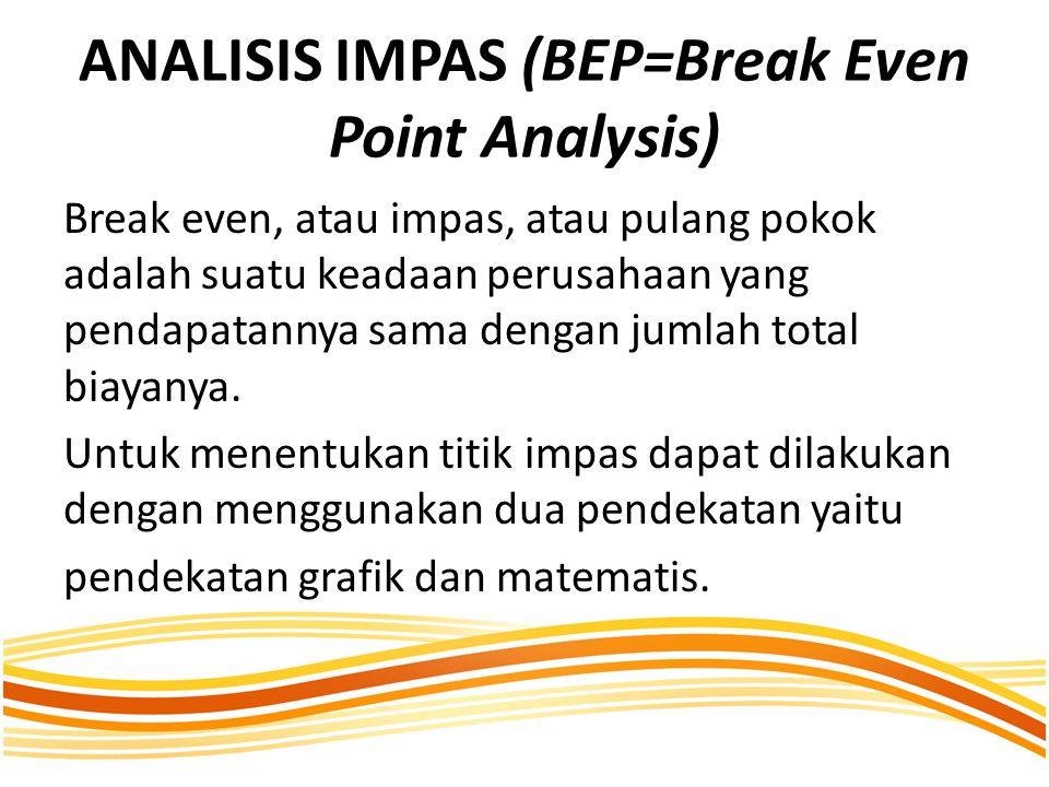 ANALISIS IMPAS (BEP=Break Even Point Analysis) Break even, atau impas, atau pulang pokok adalah suatu keadaan perusahaan yang pendapatannya sama dengan jumlah total biayanya.