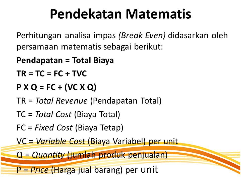 Pendekatan Matematis Perhitungan analisa impas (Break Even) didasarkan oleh persamaan matematis sebagai berikut: Pendapatan = Total Biaya TR = TC = FC + TVC P X Q = FC + (VC X Q) TR = Total Revenue (Pendapatan Total) TC = Total Cost (Biaya Total) FC = Fixed Cost (Biaya Tetap) VC = Variable Cost (Biaya Variabel) per unit Q = Quantity (jumlah produk penjualan) P = Price (Harga jual barang) per unit