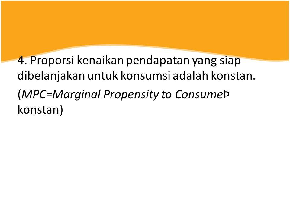 4.Proporsi kenaikan pendapatan yang siap dibelanjakan untuk konsumsi adalah konstan.