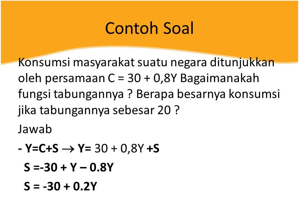 Contoh Soal Konsumsi masyarakat suatu negara ditunjukkan oleh persamaan C = 30 + 0,8Y Bagaimanakah fungsi tabungannya .