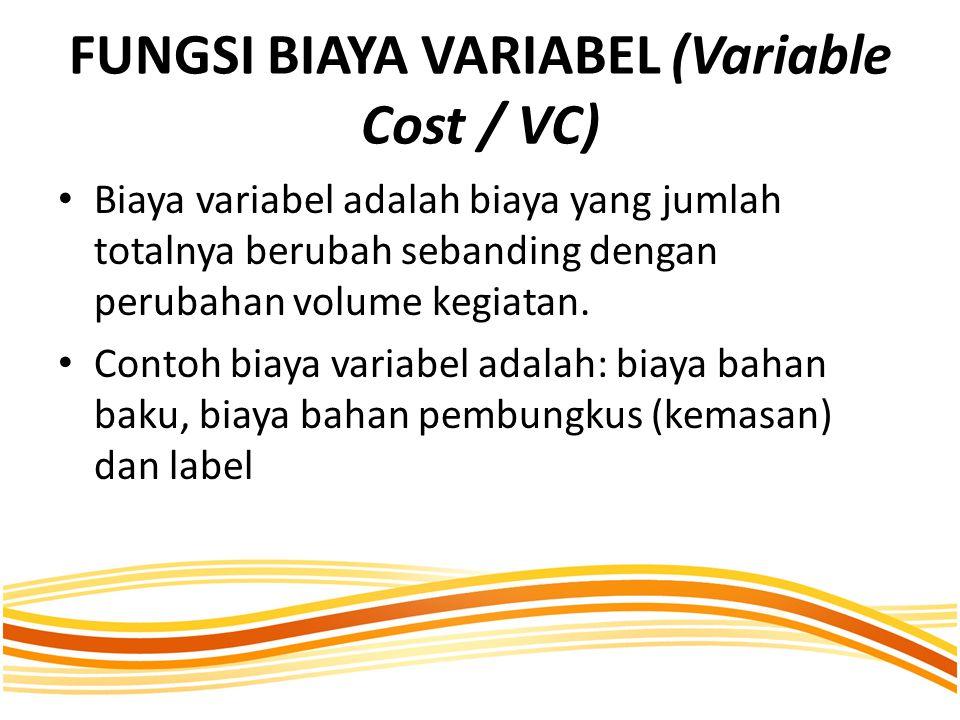 FUNGSI BIAYA VARIABEL (Variable Cost / VC) Biaya variabel adalah biaya yang jumlah totalnya berubah sebanding dengan perubahan volume kegiatan.