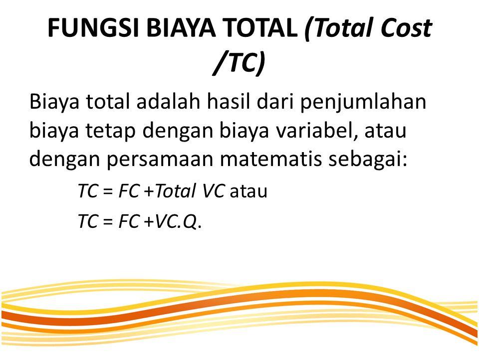 FUNGSI BIAYA TOTAL (Total Cost /TC) Biaya total adalah hasil dari penjumlahan biaya tetap dengan biaya variabel, atau dengan persamaan matematis sebagai: TC = FC +Total VC atau TC = FC +VC.Q.