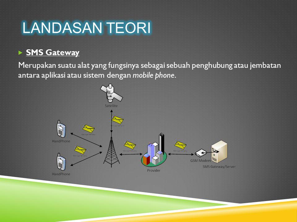  SMS Gateway Merupakan suatu alat yang fungsinya sebagai sebuah penghubung atau jembatan antara aplikasi atau sistem dengan mobile phone.