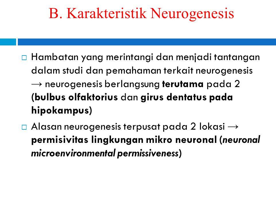 B. Karakteristik Neurogenesis  Hambatan yang merintangi dan menjadi tantangan dalam studi dan pemahaman terkait neurogenesis → neurogenesis berlangsu