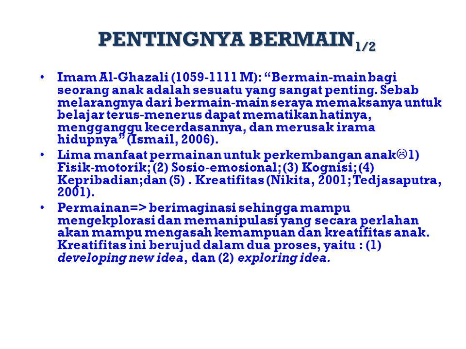 """PENTINGNYA BERMAIN 1/2 Imam Al-Ghazali (1059-1111 M): """"Bermain-main bagi seorang anak adalah sesuatu yang sangat penting. Sebab melarangnya dari berma"""