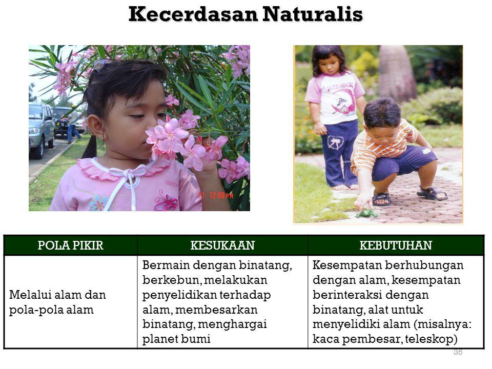 35 Kecerdasan Naturalis POLA PIKIRKESUKAANKEBUTUHAN Melalui alam dan pola-pola alam Bermain dengan binatang, berkebun, melakukan penyelidikan terhadap