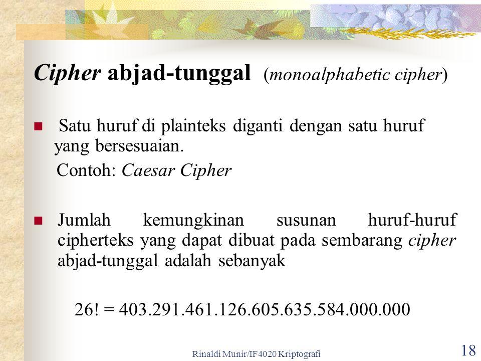 Rinaldi Munir/IF4020 Kriptografi 18 Satu huruf di plainteks diganti dengan satu huruf yang bersesuaian. Contoh: Caesar Cipher Jumlah kemungkinan susun