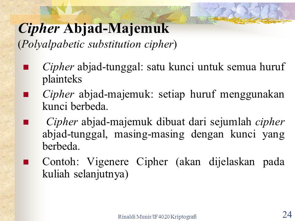 Rinaldi Munir/IF4020 Kriptografi 24 Cipher abjad-tunggal: satu kunci untuk semua huruf plainteks Cipher abjad-majemuk: setiap huruf menggunakan kunci