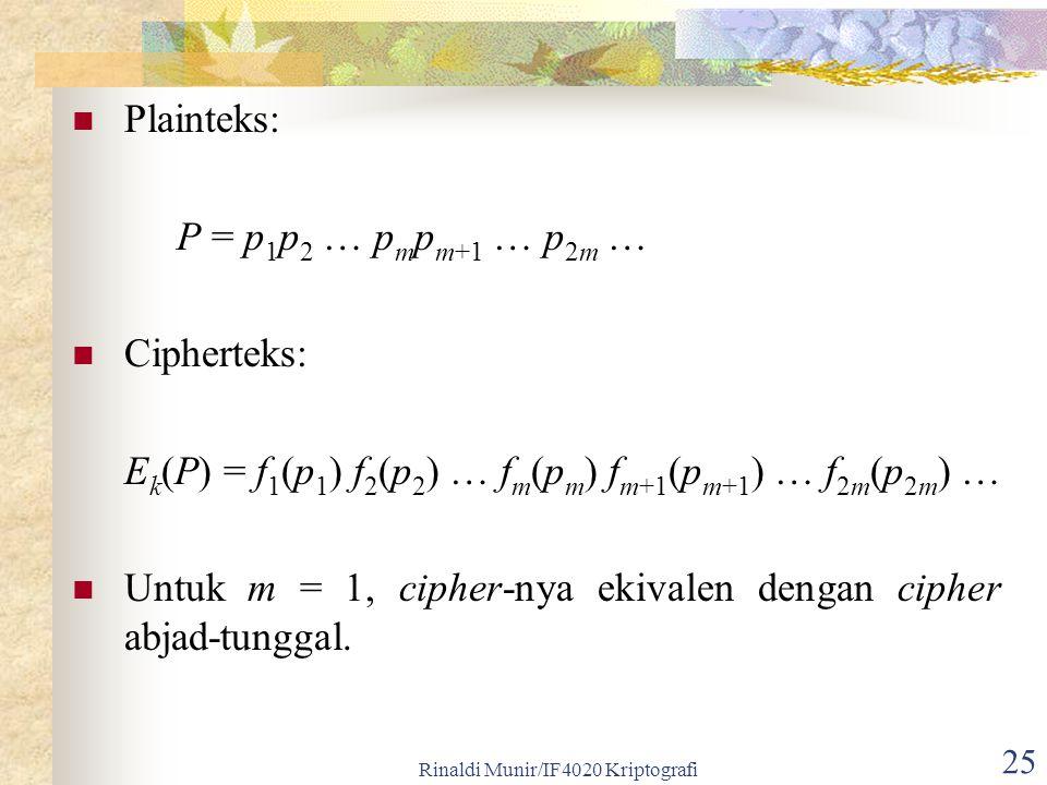 Rinaldi Munir/IF4020 Kriptografi 25 Plainteks: P = p 1 p 2 … p m p m+1 … p 2m … Cipherteks: E k (P) = f 1 (p 1 ) f 2 (p 2 ) … f m (p m ) f m+1 (p m+1