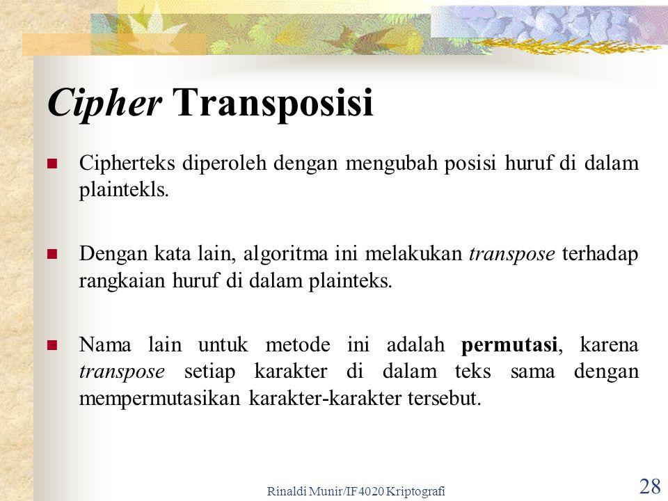Rinaldi Munir/IF4020 Kriptografi 28 Cipher Transposisi Cipherteks diperoleh dengan mengubah posisi huruf di dalam plaintekls. Dengan kata lain, algori