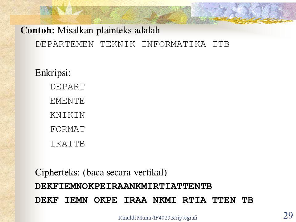 Rinaldi Munir/IF4020 Kriptografi 29 Contoh: Misalkan plainteks adalah DEPARTEMEN TEKNIK INFORMATIKA ITB Enkripsi: DEPART EMENTE KNIKIN FORMAT IKAITB C
