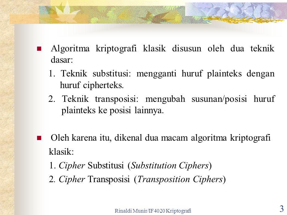Rinaldi Munir/IF4020 Kriptografi 3 Algoritma kriptografi klasik disusun oleh dua teknik dasar: 1. Teknik substitusi: mengganti huruf plainteks dengan