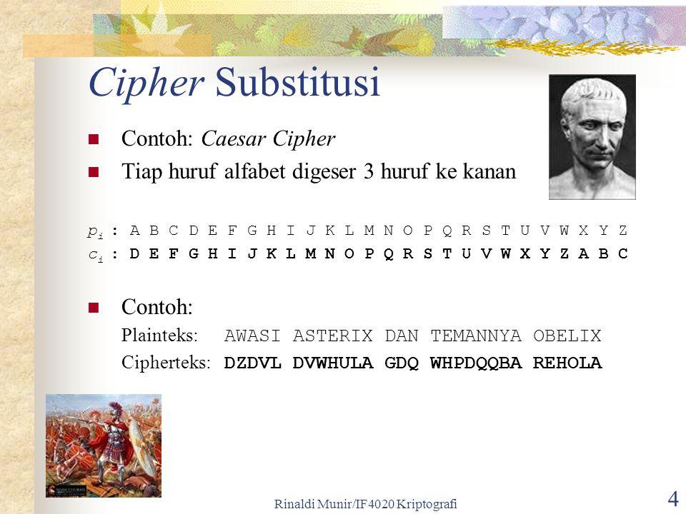Rinaldi Munir/IF4020 Kriptografi 25 Plainteks: P = p 1 p 2 … p m p m+1 … p 2m … Cipherteks: E k (P) = f 1 (p 1 ) f 2 (p 2 ) … f m (p m ) f m+1 (p m+1 ) … f 2m (p 2m ) … Untuk m = 1, cipher-nya ekivalen dengan cipher abjad-tunggal.