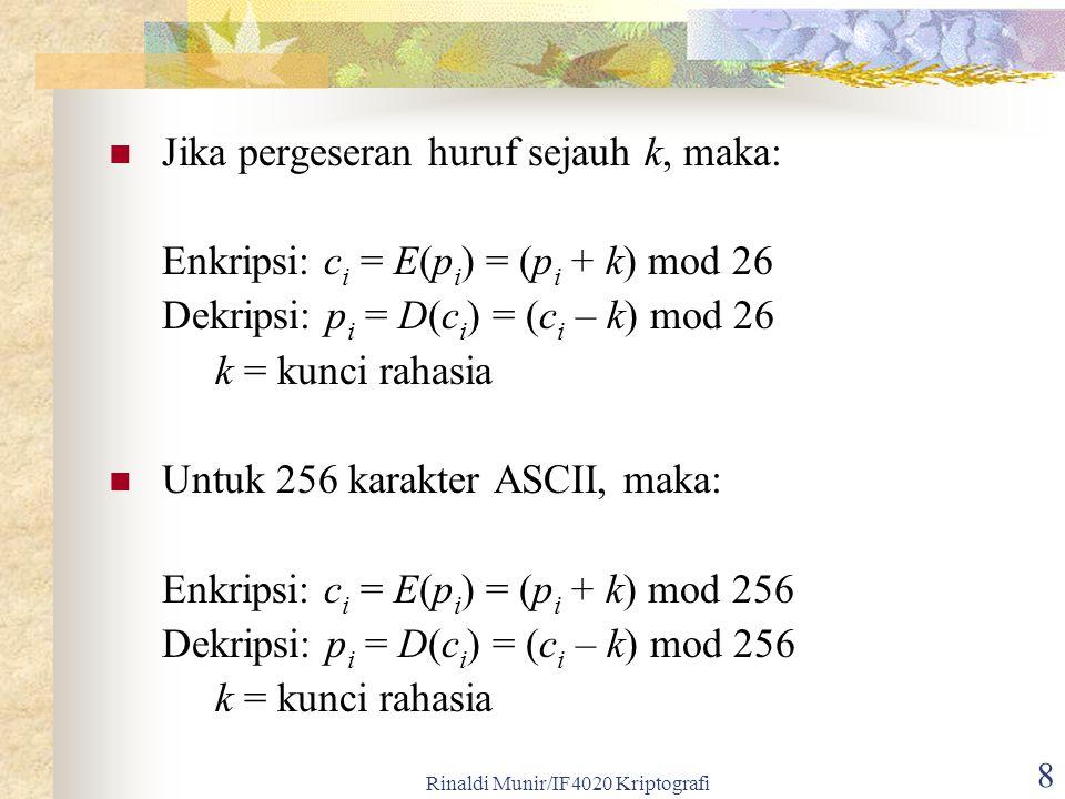 Rinaldi Munir/IF4020 Kriptografi 8 Jika pergeseran huruf sejauh k, maka: Enkripsi: c i = E(p i ) = (p i + k) mod 26 Dekripsi: p i = D(c i ) = (c i – k
